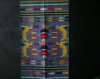 Vintage Folk Art Weaving 21 x 45 inch Bohemian Wall Hanging or Table Runner Blue Red Yellow Vintage From Nowvintage on Etsy