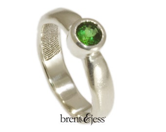 Fingerprint Ring Engagement Ring with Green Tourmaline, Handcrafted Sustainable Jewelry