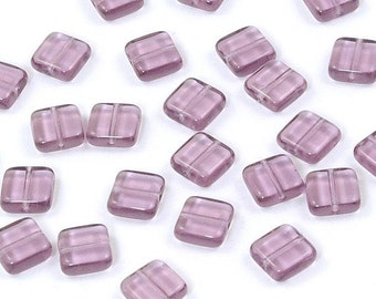 Purple Amethyst Square Czech Glass Tile Beads 9mm - 25