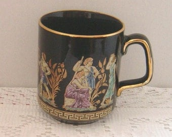 Hellas Grecian Cup Mug hand painted 24k gold trim