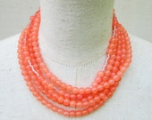RESERVED LAURA-Earrings and Light Orange Peach Beaded Layered Necklace, Coral Tangerine Salmon Beads Choker Collar