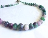 Mashan Jade Lavender  Green Purple Faceted Chunky Graduated Beaded Single Strand Necklace