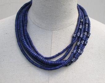 Indigo Navy Blue Multi Strand Layered Heishi Beads Beaded Necklace