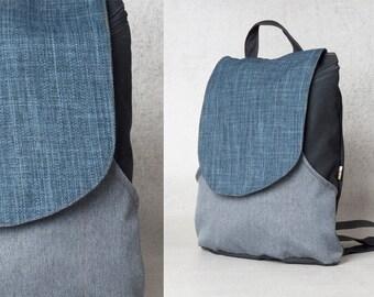 Blue Backpack, Canvas backpack, Rucksack backpack, Travel backpack, Hipster backpack, women backpack purse, gift for her