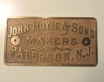 Vintage Manufacturers Solid Brass Plate - 1930's