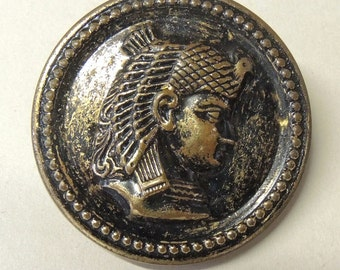 Extra Large Victorian Picture Button, Egyptian Pharaoh Picture Button, 1 3/8 Inches, Rare Button, 100 Years Old,