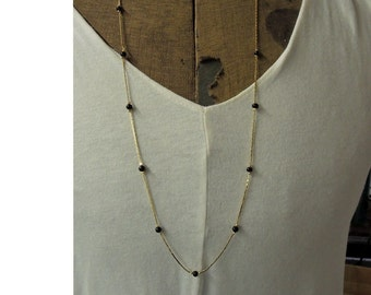 Vintage 10K Gold Plated Snake Chain With Black Beads, Vintage New Old Stock