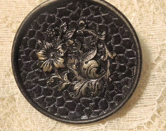 Large Vintage Metal Button - Raised Brass Floral Vine - 37mm Button, 1 1/2 Inches - Rare, Collectable Button