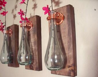 Teardrop bottles trio (3) on wood boards wall decor, kitchen decor, country decor, wedding gift, rustic decor, housewarming gift.