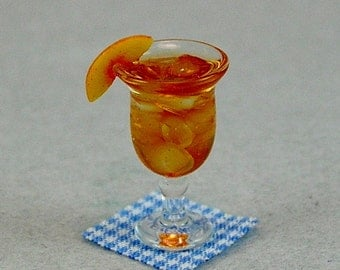Peach Iced Tea in Footed Glass  (1:12th Scale)