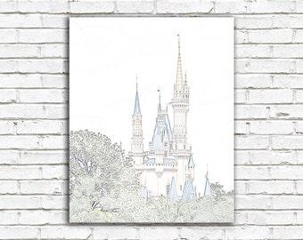 Disney art, princess Cinderella castle, pastel pencil sketch, Disney nursery decor, kids childs room, Disney castle photo, Disney poster