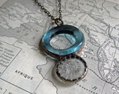 Blue Bottle Glass Bead with Clear Glass Button Pendant One of a Kind Jewelry