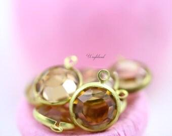 Light Colorado Topaz 11mm Vintage Round Swarovski Stone in 1 Ring Brass Channel Drops - 2