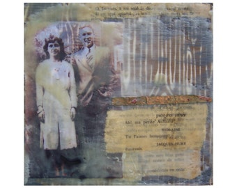 """Mixed-Media, collage, encaustic, French, on wood, """"Violane & Jacques"""""""