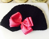 Sale Black Brimmed Winter Hat with Pink Sparkle Bow Clip Girl 2-4 years