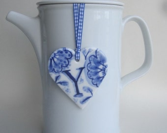 Y- Monogram - Hand painted porcelain  Heart -  Blue and white Delftware ornament