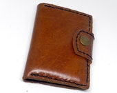Tan Leather Wallet Leather Card Bag Leather Card Wallet Card Case Hand Stitched with Snap Button