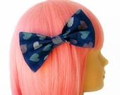SALE Blue Bow Kawaii Hair Bow Heart Hair Bows Sketch Hearts Cute Hair Accessories Large Hair Bow