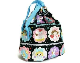 Pastel Kawaii Pouch Drawstring Bag Cute Lolita Girls Strawberry Cakes Drawstring Pouch Small Tote Bag