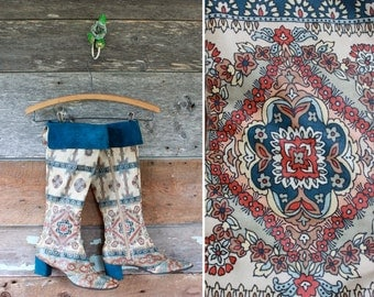 1960s leather paisley boots by Beth Levine (maybe) / 60s psychedelic mod hippie boots / size 8
