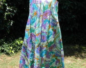 Vintage Trapeze Dress MOD 60s 70s Colorful Maxi Dress w/Matching Tie Belt Floor Length size L Large