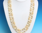 Frosted Bead Necklace Yellow Clear Two Strands West Germany Vintage