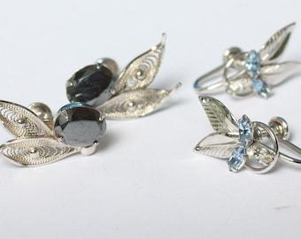 Two Pair Sterling Earrings Screw Back Hematite Blue Crystals Carl-Art Sorrento