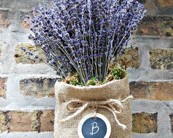 Dried Lavender Arrangement / Rustic Lavender Bouquet / Burlap and Lavender / Dried Flower / Cottage Chic