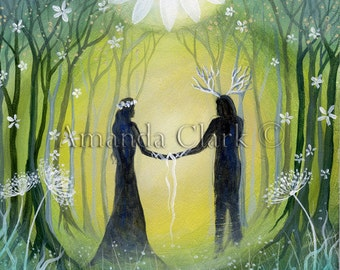 A single greeting card. Titled 'Handfasting'.   Illustrations and paintings by Amanda Clark.