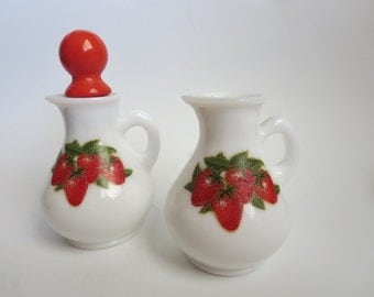 Vintage Milk Glass Small Pitcher - Set Of Two Milk Glass with Strawberries Mini Pitcher - Strawberries and Cream Bath Foam by AVON 1970s