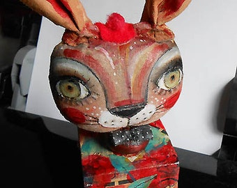 Original decorative doll  Bunny on cube made by hand by miliaart studio