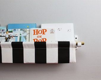 Book Sling - Black and White Striped Wall Organizer - Choose your size