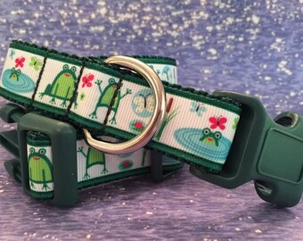 Cutest Frogs, Fun Summer Dog Collar, In M, L, XL, Choice of Webbing and Buckle