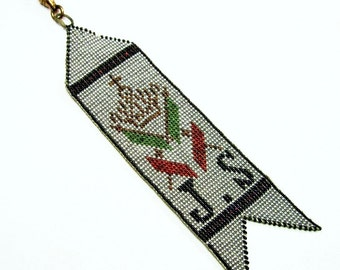 Antique Micro Beaded Fob - Crown - Cross - Flags - Swivel