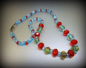 Blue Red Glass Beaded Necklace