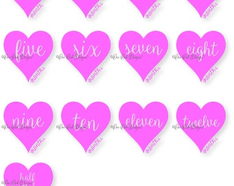 Heart Baby Month SVG File Set PDF / dxf / jpg / png / eps / ai / for Cameo V2 V3 for Cricut & other electronic cutters