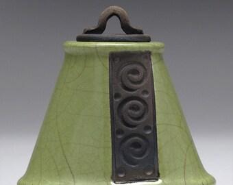 Small Ceramic raku vessel,Lidded Jar, olive green, Home Decor, Nature Inspired, hand made, one of a kind