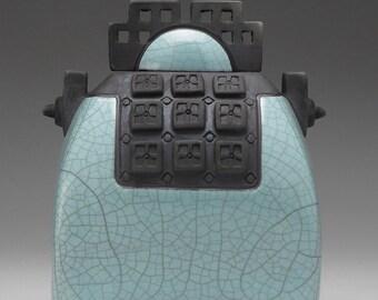 Ceramic sculptural art vessel, Raku  Vessel,handmade,home decor,turquoise green