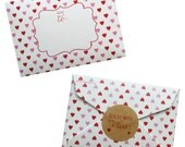 Mini Envelope Heart Valentines - 8 pack Fill-in with sticker seals