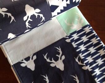 Aztec Baby Blanket-Patchwork Baby Blanket-Woodland Nursery Bedding-Woodland Blanket-Deer Head Blanket-Baby Shower Gift-Tribal Baby Blanket