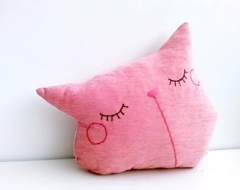 Pink pillow, cat pillow, decorative pillow, throw pillow, couch pillow, cat decor, friends gift, stuffed cat, pillow cute, handmade pillow