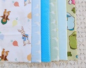 S089 Fabric Scraps Bundle Set - Fairy Tale Storybook Blue Green Colorway Peter Rabbit Easter Bunny White Goose Mini Dots(6PCS, 9x9 Inches)