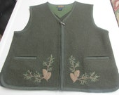 Vintage woolrich womans VEST sz M 100% wool olive pinecone embroidery