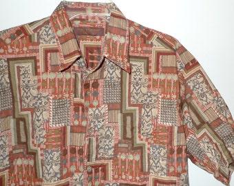 VTG Dude Shirt Abstract Jazz Pattern Short Sleeve ButtonDown Oxford Top Luau Cabana Hawaiian Honolulu Tiki Punk Big Lebowski Rust & Neutrals