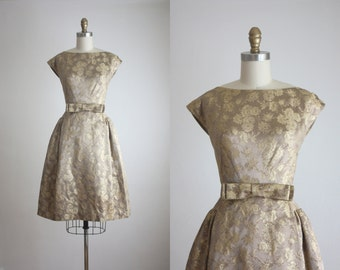 1950s gold brocade cocktail dress