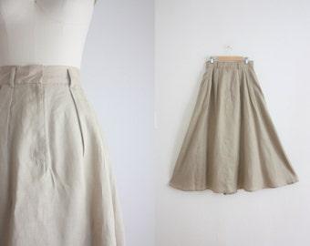 natural linen midi skirt