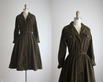 olive shirtdress / vintage micro-corduroy shirtdress
