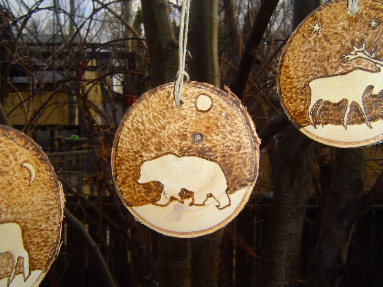 Engagement ring christmas ornament - Birch Slice Christmas Ornaments Wildlife Wood Burned Christmas Ornaments Rustic Tree Slice Ornaments