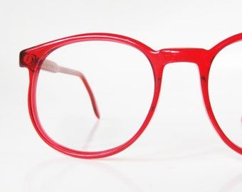 1960s Cherry Red Round Womens Glasses Tart Optical Eyeglasses Handmade USA America 60s Sixties Bright Clear Rouge Ladies Deadstock NOS