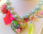 Let Them Eat Cake Necklace Cameo Jewelry Glitter Resin Heart Pendant Necklace - Pastel Pearl Charm Necklace